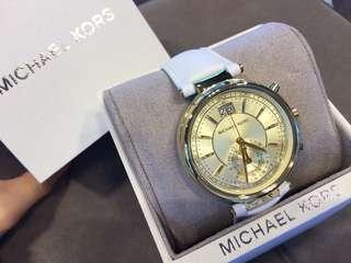 Michael Kors 白皮帶金圈錶