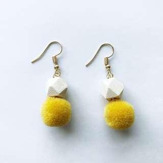 Hedy Pom Earrings (Yellow)