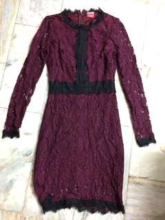 Red / Maroon Lacy Dress