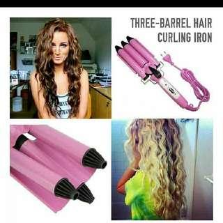 Three barrel curling wand mermaid curl