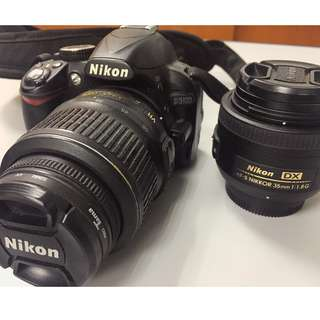 Nikon D3100 18-55mm Kit Lens Black with Nikon AF-S DX NIKKOR Lens 35mm f/1.8G
