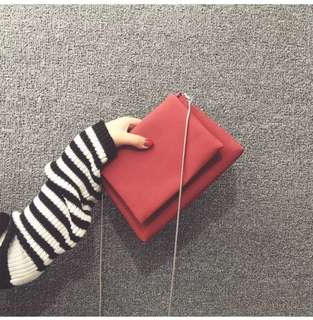 Soft Red Sling Flap Bag