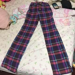 日本專櫃co&lu 毛呢格子褲