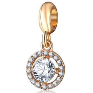 White Crystal Gold Charm