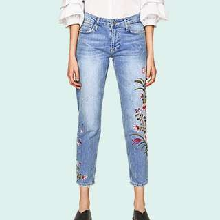 NCR1013 READY STOCK Embroidered Jeans (S,M,L)