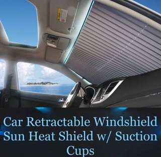 Car Retractable Windshield Sun Heat Shield w/ Suction Cups - Black ( 2 PCS)