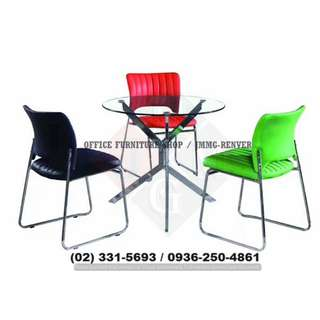 Visitor Chair_leatherette chrome plated_office partition