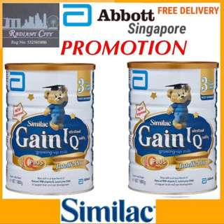 Abbott Similac Gain IQ Kid S3 Eye Q+ Intelli-Pro Growing Up Milk (1Yr) 1.8kg X 2tins $165.90 INCLUDING STANDARD FREE DELIVERY