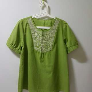 Green Top with embroidery