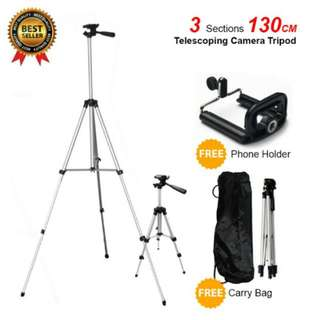 FREE POS Ready Stock Telescoping Camera DSLR Stand Tripod Extendable 130cm