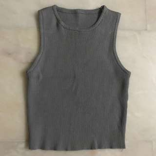 Basic Grey Sleeveless Ribbed Crop Top