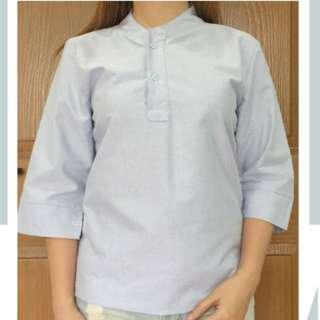 Light blue chinese collared half sleeves top