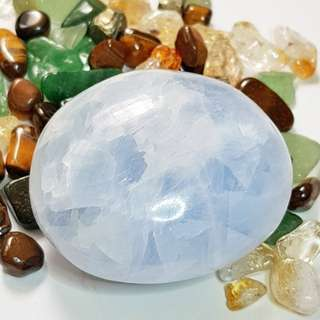 Sky Blue Celestite Crystal Palmstone With High Frequency Vibrations
