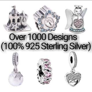 Over 1000 Designs (925 Sterling Silver Charms) To Choose From, Compatible With Pandora, T26