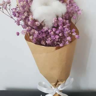 Cotton flower with dry baby breath bouquet