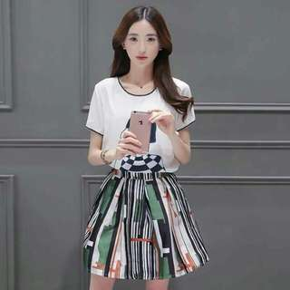 Printed Skirt and white top Terno