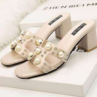 Apricot pearl slip on chunky heels Sandals