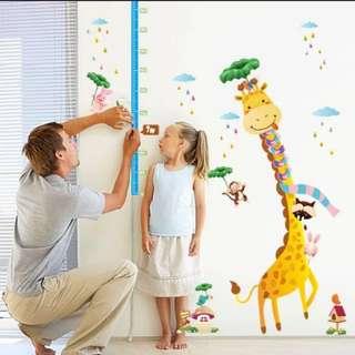 🎁( $10 Each 4 Designs ) Giraffe Animal Height Wall Sticker Kindergarten Kids Room Bedroom Decoration Measurements Height Self-sticks Removable Wall Sticker/Home Decor