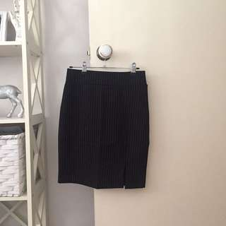 Striped Skirt with Side Slit