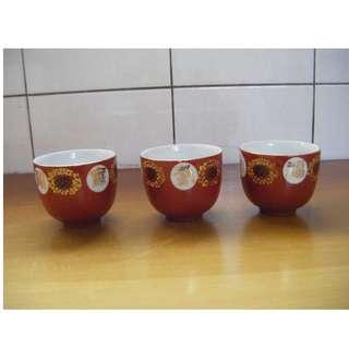 福壽無壽 敬神杯 杯子 珊瑚紅 (3個一起賣)