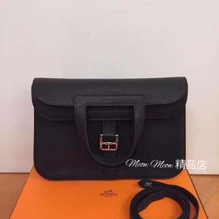 Hermes Halzan 31cm Black PHW 黑色銀扣