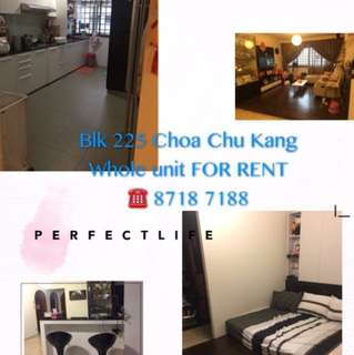 Whole unit for rent at Blk 225 CCK