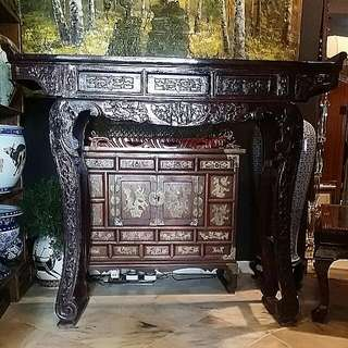 Chinese Antique Wood Fuk Luk Sau Carved Altar Table With Dragons Carved On The Legs