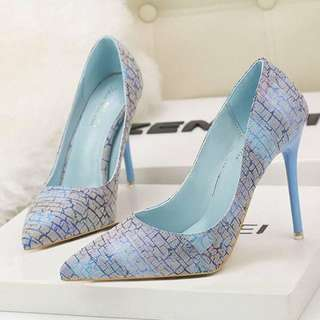 Blue Scarfin heels shoes Pre Order