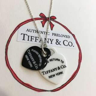 Excellent Authentic Tiffany & Co. Return To Black White Bone Heart Silver Necklace