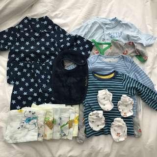 0-3 months Baby Boy Clothes Bundle Set carters Mothercare pjs mittens mum2mum bib