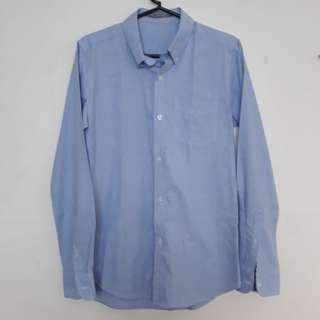 Rafael light blue plain longsleeves polo