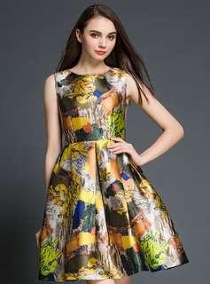 AO/KKC070657 - Vintage Ink Floral Pleated Flouncing High Waist A-Line Dress