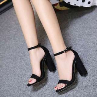 Black ankle strap open toe chunky heels sandals Pre order