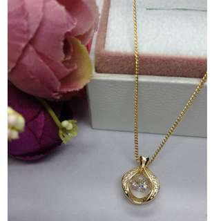 Authentic Bangkok Gold 10k Saudi Gold Chain Necklace & Heart Pendant with Zirconia Stones Non Tarnish (Not Pawnable)