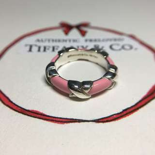 Excellent Authentic Tiffany & Co Pink Enamel Signature X Silver Ring #4.5