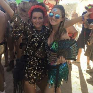 Sequin turquoise festival outfit