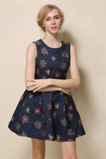 AO/YZC070712 - Charming Jacquard Snow Floral Pleated Tank A-Line Dress