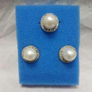 Set white pearl diamonds (14k)