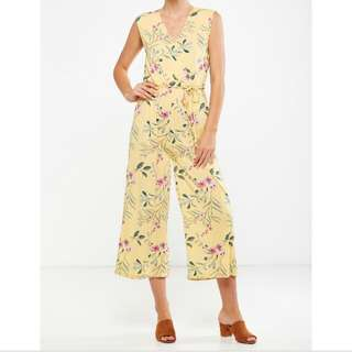 Cotton On Jersey Joss Culotte Jumpsuit Yellow Floral