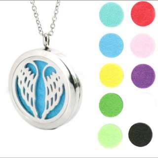 Angel Wing  ~ Essential Oil surgical Stainless Steel Perfume Diffuser Oils Locket Necklace