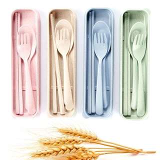 Wheat Straw Spoon and Fork 3in1 set