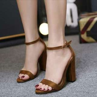 Brown camel ankle strap open toe chunky heels sandals Pre order