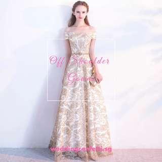 Off Shoulder Evening Gown