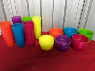 Ikea cups and bowls ($2 per set / per colour)