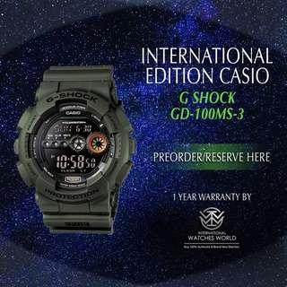 CASIO INTERNATIONAL EDITION G SHOCK MILITARY GREEN GD100MS-3
