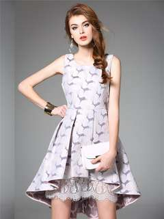 AO/DZC070850 - Jacquard Deer Lace Lining Dovetail Tank Dress