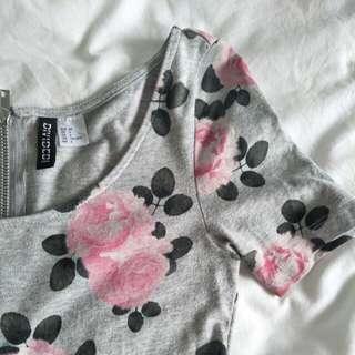 H&M Grey Floral Skater Flare Dress