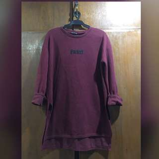Paris Long Sleeve Korean Style Top - Maroon
