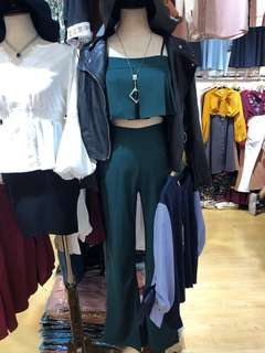 Green set bell sleeve pants and crop top