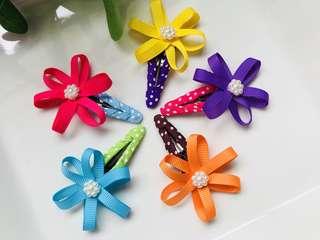 Handmade Grosgrain Ribbon toddler flower hairbow/ hair bow/ hair clip/ hairclip/ snap clip/ tic tac